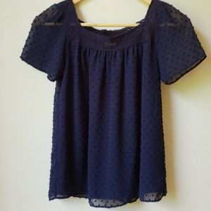 Navy Blue Embroidered Polka Dot J. Crew Top Size 0
